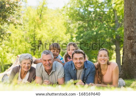 Portrait of an extended family lying on grass in the park - stock photo