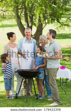 Portrait of an extended family standing at barbecue in the park - stock photo