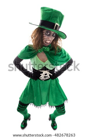 Portrait of an green goblin girl, isolated on white, concept Ireland and fairytales