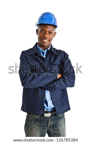 Portrait of an handsome african engineer - stock photo