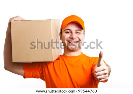 Portrait of an handsome deliverer. Isolated on white - stock photo