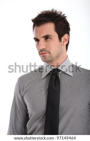 Portrait of an Handsome man in shirt and tie - stock photo