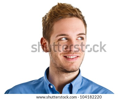 Portrait of an handsome man looking at his side - stock photo