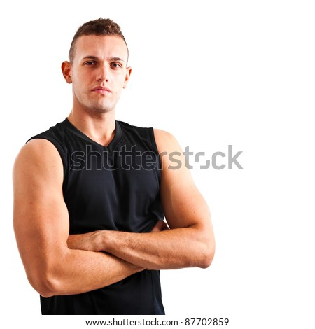 Portrait of an handsome muscular man isolated on white background