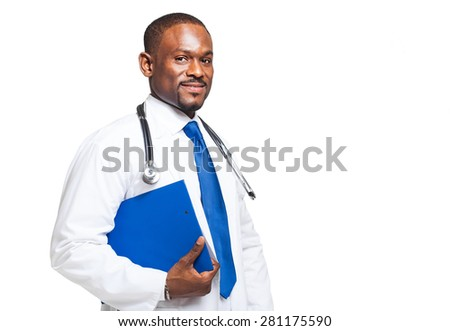 Portrait of an handsome smiling doctor - stock photo
