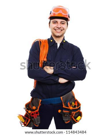 Portrait of an handsome worker. Isolated on white - stock photo