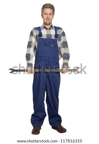 Portrait of an happy worker isolated on white - stock photo
