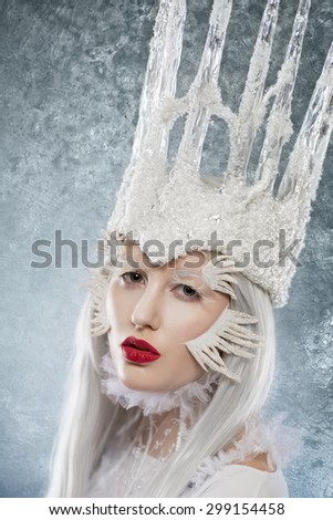 Portrait of an ice-queen - stock photo