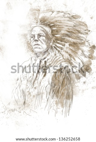 Portrait of an Indian chief. /// A hand drawn illustration. - stock photo