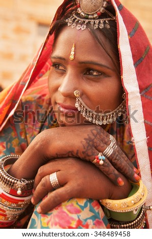 Portrait of an Indian Rajasthani woman, India