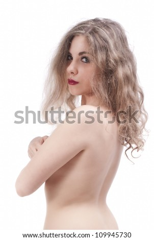 Portrait of an isolated young naked woman from back - stock photo