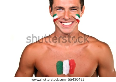 Portrait of an italian football fan with flag on his body and face, isolated on white - stock photo