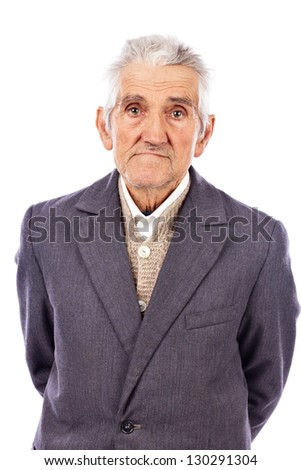 Portrait of an old man looking at camera isolated on white background - stock photo