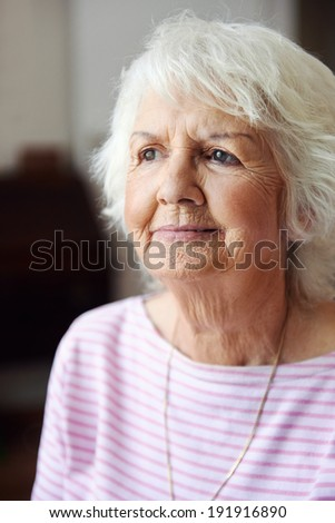Portrait of an old woman deep in thought - stock photo