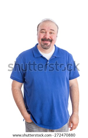Portrait of an Optimistic Adult Guy in Blue Polo Shirt Smiling at the Camera with One Hand in his Pocket, Isolated on White Background. - stock photo