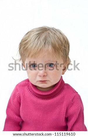 Portrait of an upset ill baby. - stock photo
