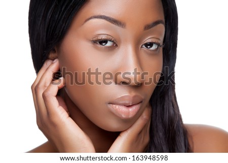 Portrait of an young black beauty - stock photo