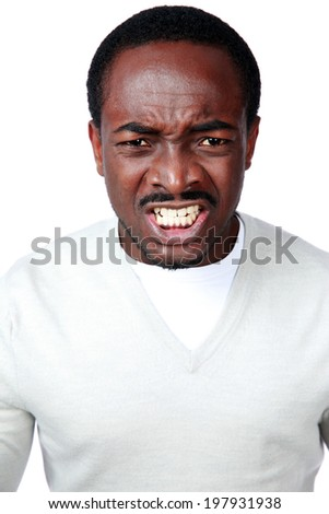 Portrait of angry african man isolated on white background - stock photo