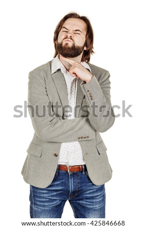 portrait of angry businessman gesturing a cutting motion on throat, which comes to suggest a warning, or maybe even a threat. - stock photo
