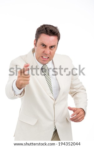 Portrait of angry Caucasian businessman - stock photo