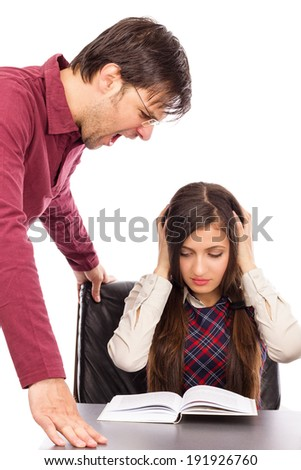 Portrait of angry teacher shouting at  student isolated over white background - stock photo