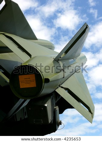 portrait of antiaircraft missiles in the sky - stock photo