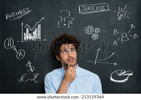 Portrait Of Anxious Business Man Contemplate Over Gray Background - stock photo