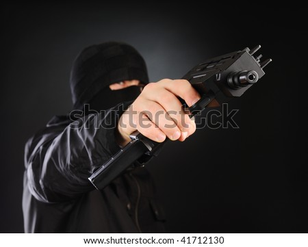 Portrait of armored man - stock photo