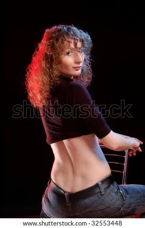 Portrait of artistic  girl - stock photo