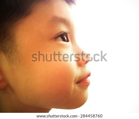 Portrait of asia boy looking to the future  - stock photo