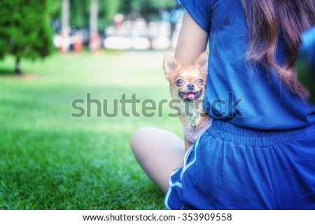 portrait of asia woman playing with her dog in park - stock photo