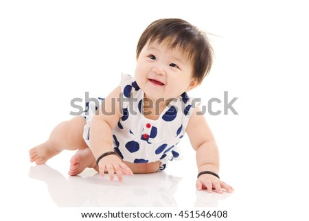 Portrait of asian baby girl looking up
