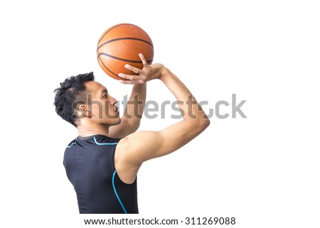 Portrait of Asian Basketball Player Shooting