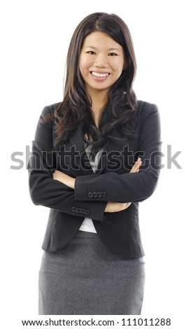 Portrait of Asian business / educational woman over white background - stock photo