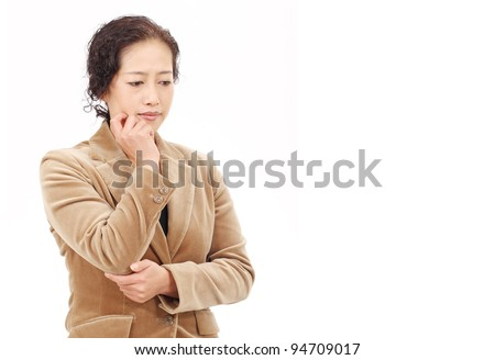 Portrait of asian business woman thinking - stock photo