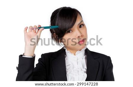 portrait of asian businesswoman thinking isolated on white background - stock photo