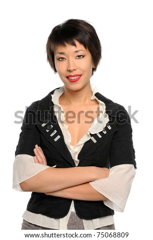 Portrait of Asian businesswoman with arms crossed isolated over white background - stock photo