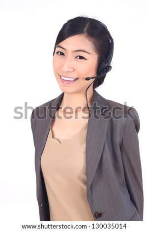 portrait of Asian customer service isolated on white. - stock photo