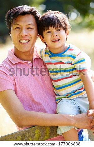 Portrait Of Asian Father And Son In Countryside - stock photo