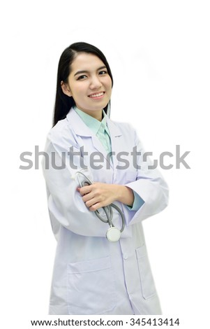 Portrait of Asian female doctor - stock photo
