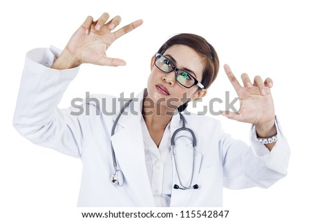 Portrait of asian female doctor with hand gesture. isolated on white