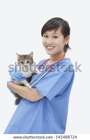 Portrait of Asian female veterinarian holding cat over gray background