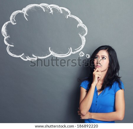 portrait of asian girl thinking and looking up to blank bubble speech. ready for your design