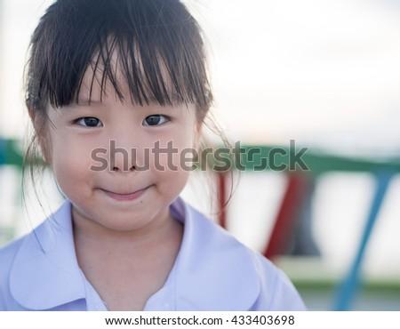 Portrait of Asian happy little girl , smile - stock photo