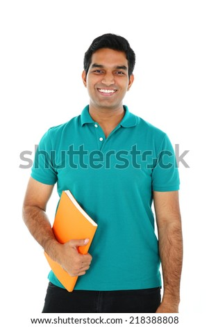 Portrait of Asian/Indian student, isolated on white background. - stock photo