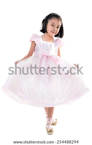 Portrait of Asian little girl isolate on white background .