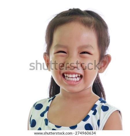 Portrait of asian little girl smiling - stock photo