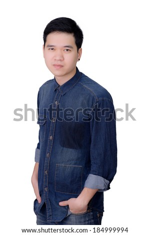 Portrait of asian man wearing jeans shirt, close up shot on white background.