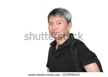 portrait of Asian man white hair on isolated