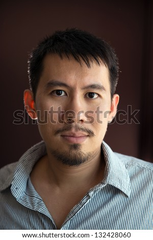 Portrait of Asian man with mustache and beard